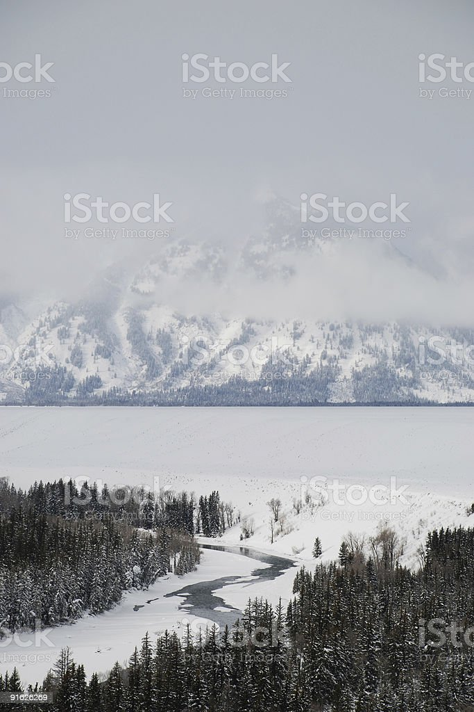 Vertical view of the Grand Tetons royalty-free stock photo