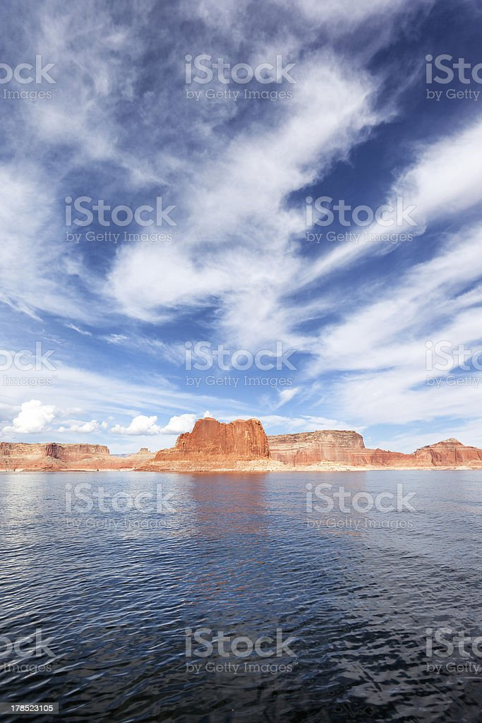 vertical view of the lake Powell stock photo
