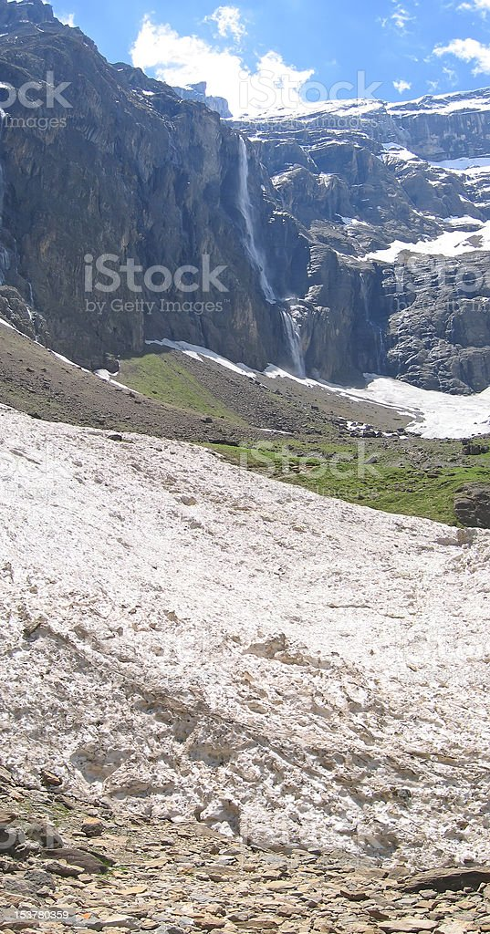Vertical view of the white glaciers gavarnie circus mountains stock photo