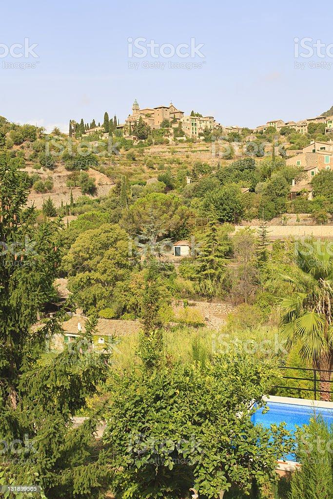 Vertical view of Valldemossa village, Majorca stock photo