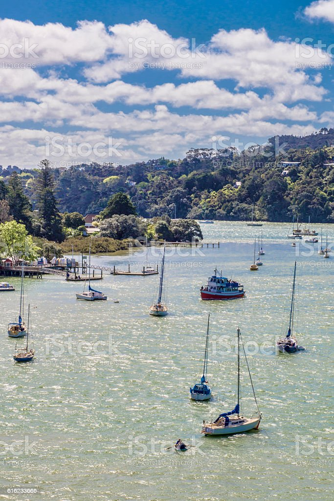 Vertical Waitemata Harbour stock photo