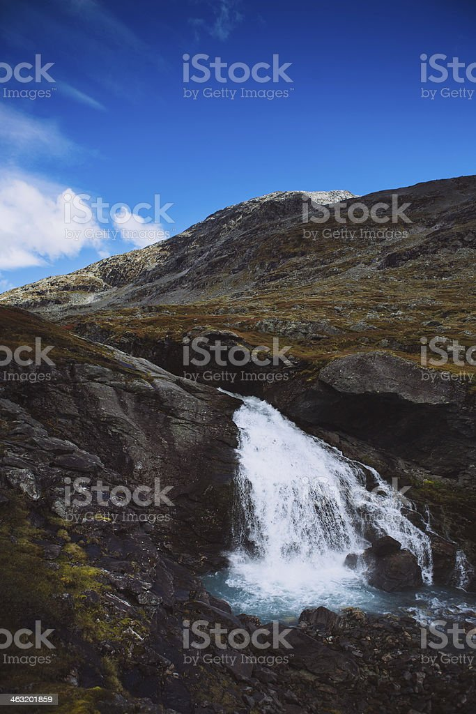 Vertical Waterfall - Strynefjell Mountain Road, Norway stock photo