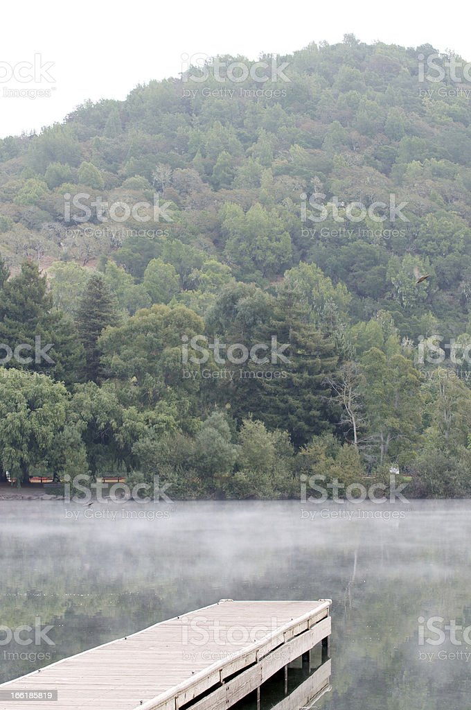 Vertical wooden pier on a calm lake with fog royalty-free stock photo