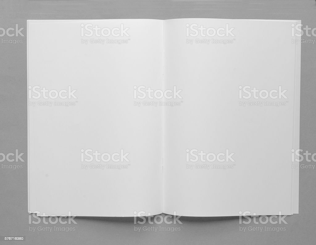 Vertically orientated blank white paper brochure with copy space stock photo