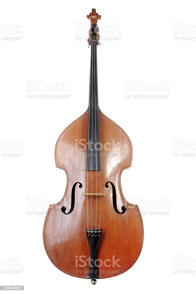 Vertically placed Contrabass on a white background stock photo