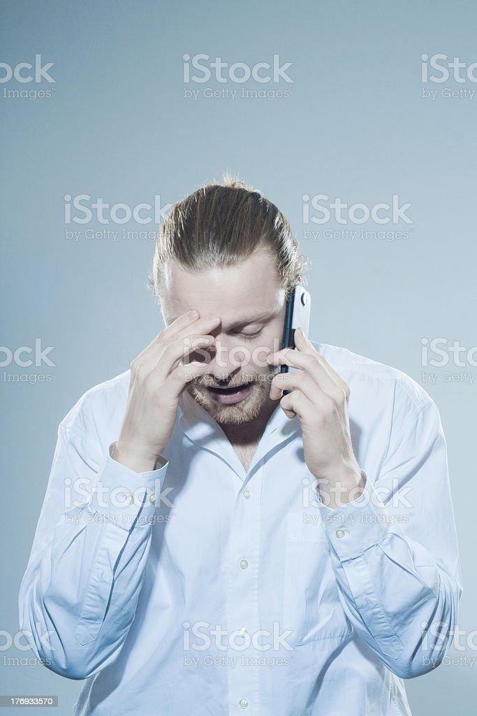 Very angry man on telepone royalty-free stock photo