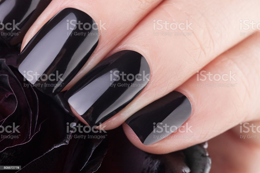 Very balack nails stock photo