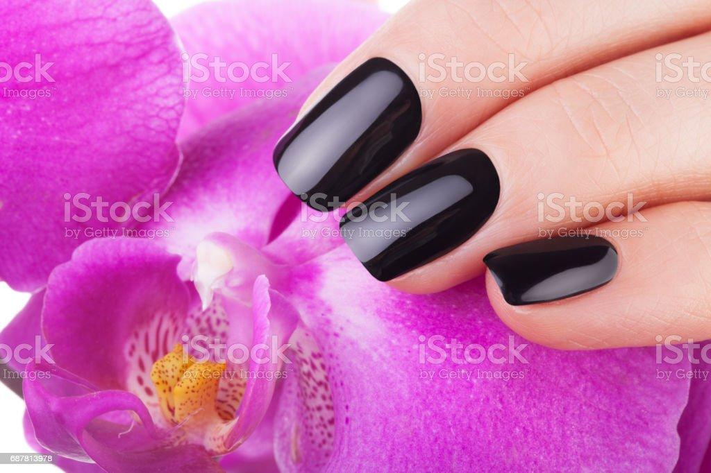 Very balack nails stock photo