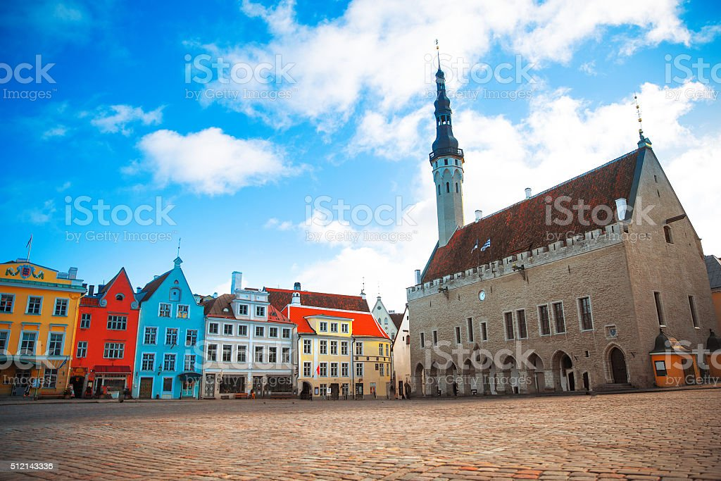Very beautiful old Town Hall Square stock photo