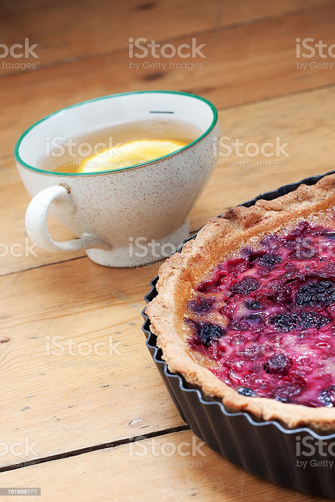 Very Berry Tart and Cup of tea royalty-free stock photo