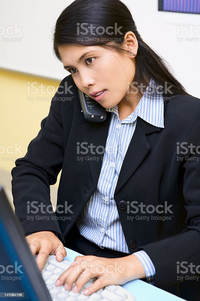 Very busy woman royalty-free stock photo