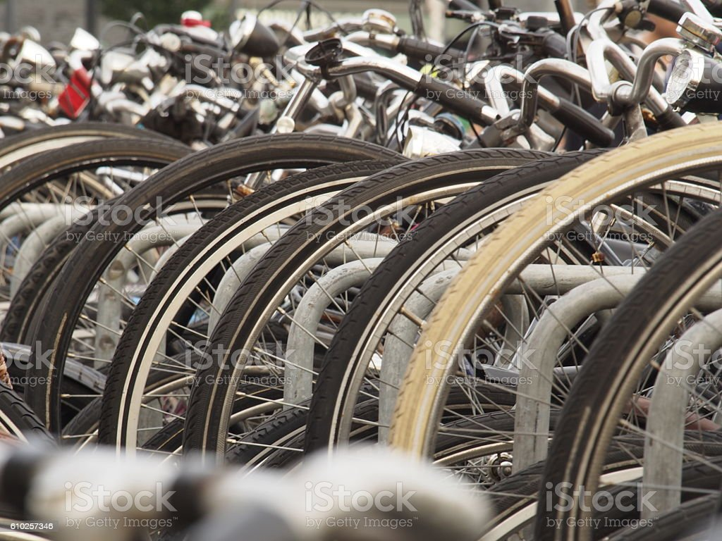 Very chaotic bicycle parking area stock photo