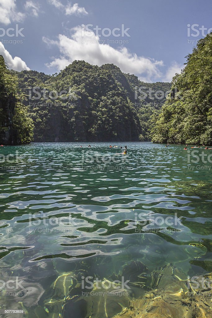 Very clean Kayangan lake in Palawan Philippines stock photo