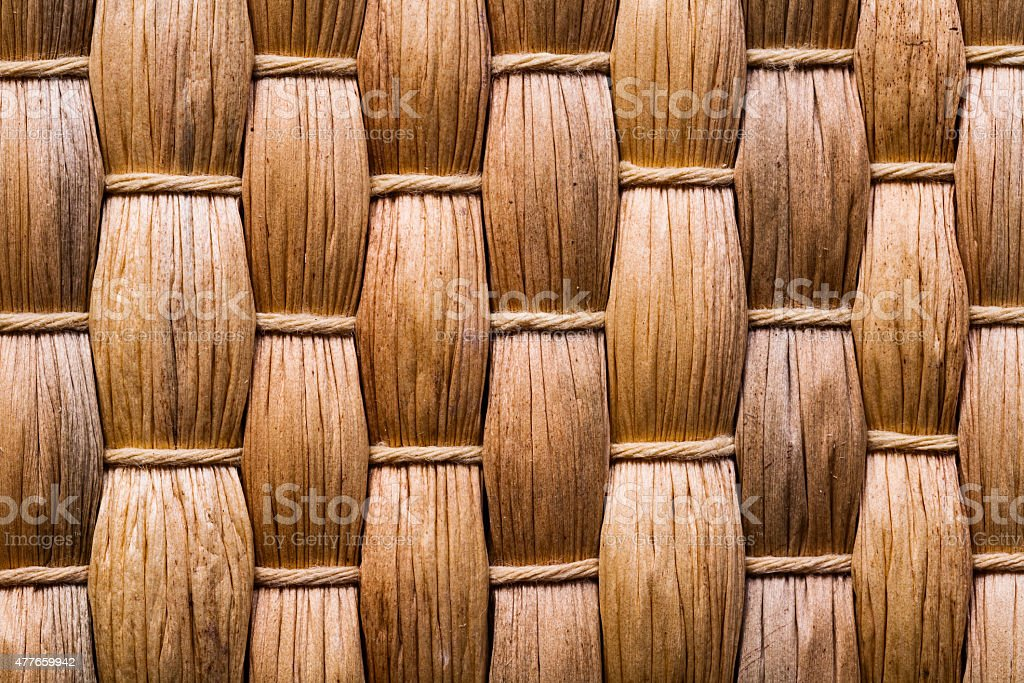 very close up view on natural bast wickered texture of stock photo