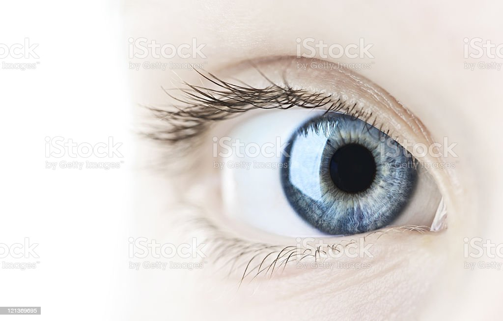 A very closeup look of a lady's eye stock photo