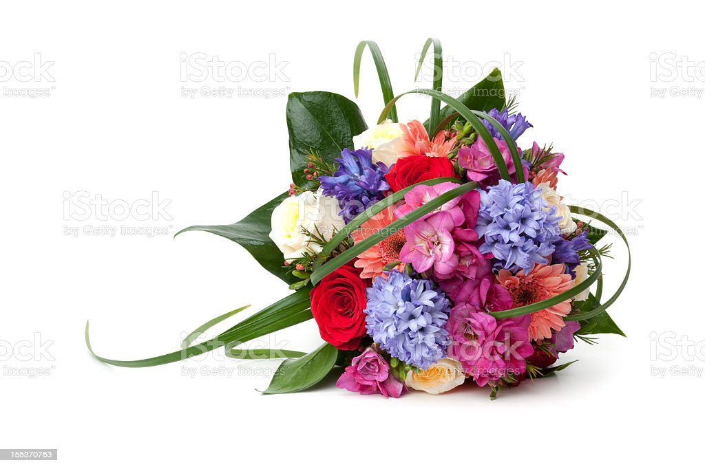 A very colorful bouquet of flowers stock photo