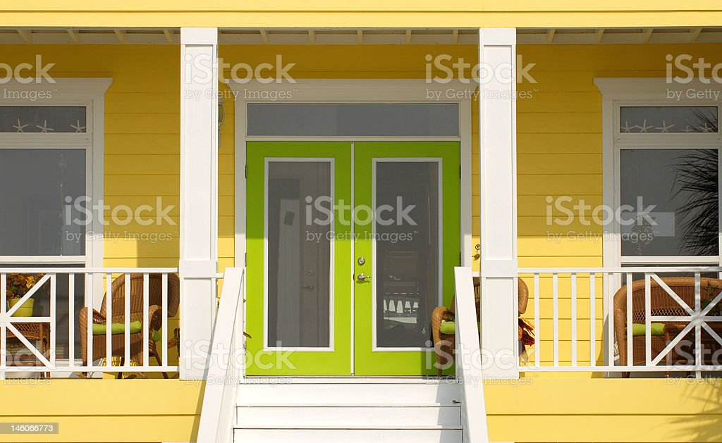 Very colorful entrance way to a Pensacola Florida home royalty-free stock photo