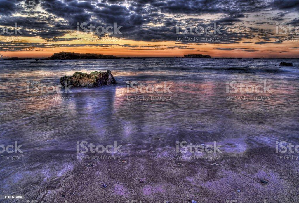 Bardzo na zachód słońca seacape zbiór zdjęć royalty-free