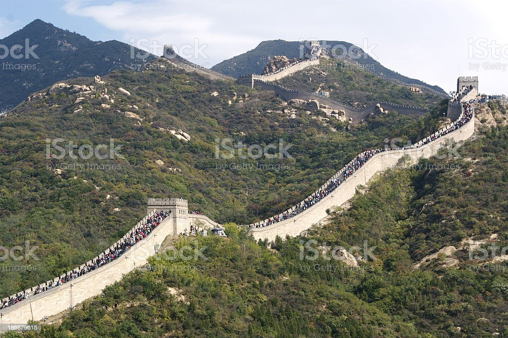 Very Crowded Great Wall of China royalty-free stock photo