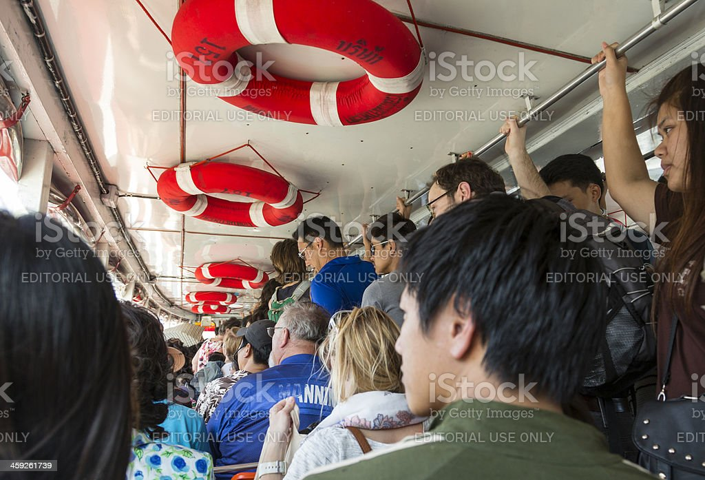 Very crowded riverboat in Bangkok. royalty-free stock photo