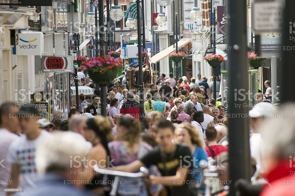 Very crowded street in the center of Gorinchem stock photo