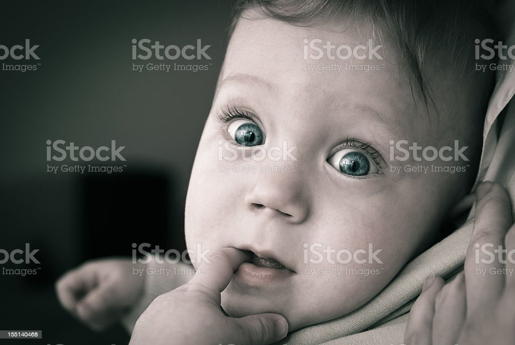 Very curious baby with big eyes royalty-free stock photo