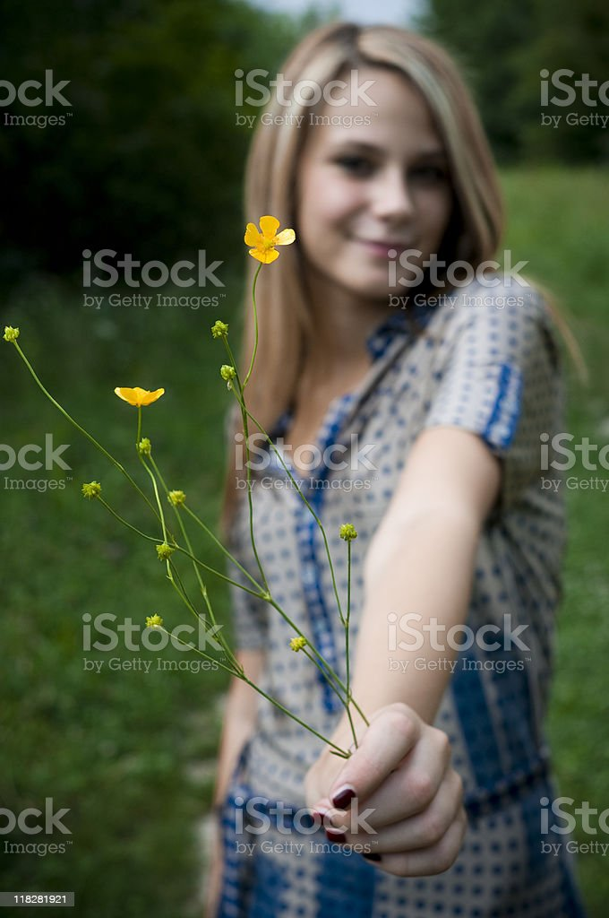 very cute girl in nature stock photo