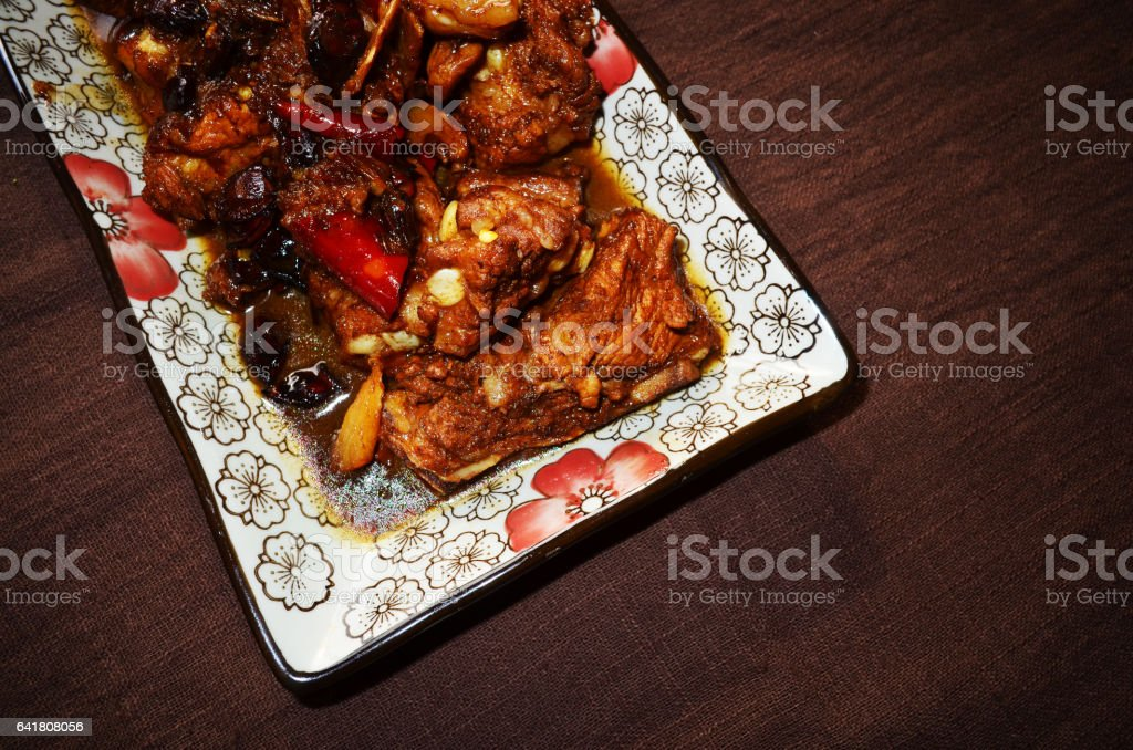 Very delicious braised pork ribs stock photo