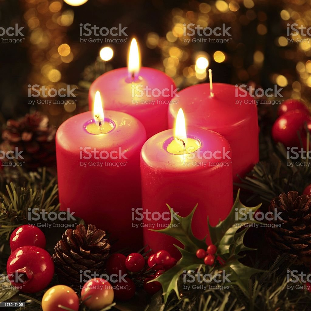 A very detailed advent Christmas time wreath  royalty-free stock photo