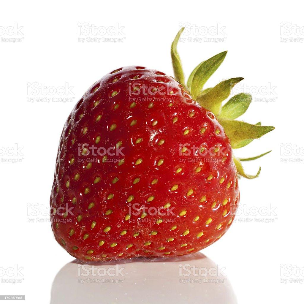 Very detailed strawberry fruit on white background royalty-free stock photo