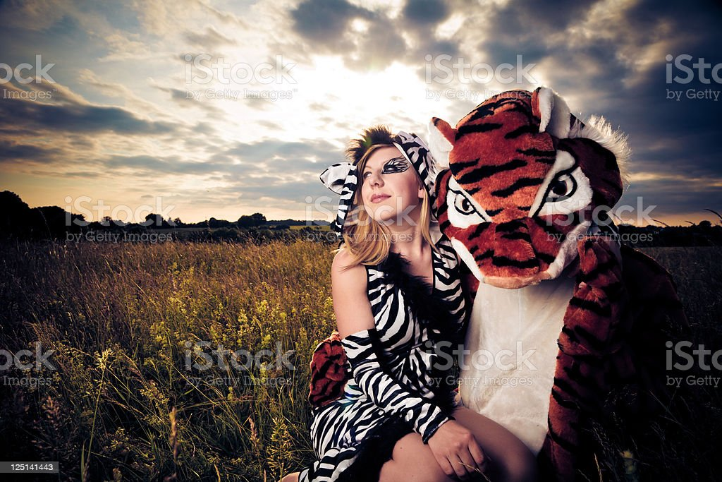 very different but wild an happy couple stock photo