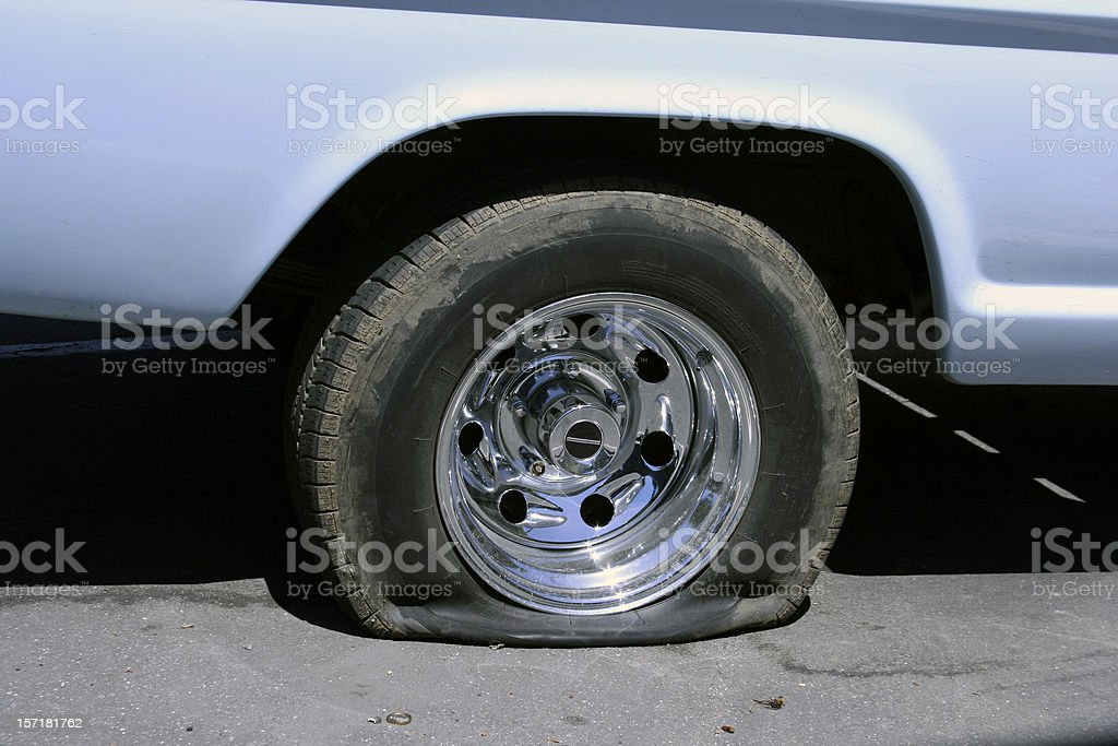 Very Flat Tire stock photo