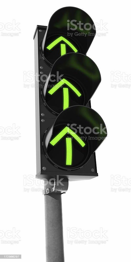 Very Green Traffic Light (arrows) stock photo