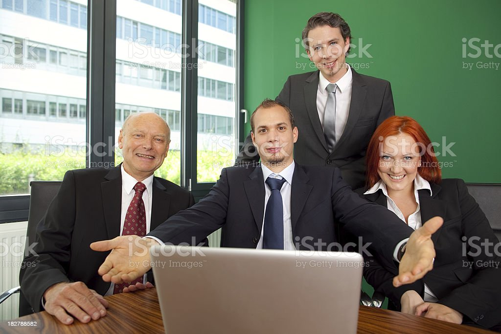 very happy business team in modern office royalty-free stock photo