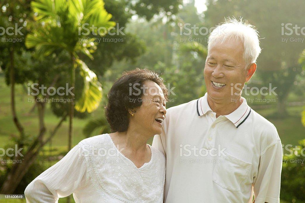 A very happy elderly Asian couple royalty-free stock photo