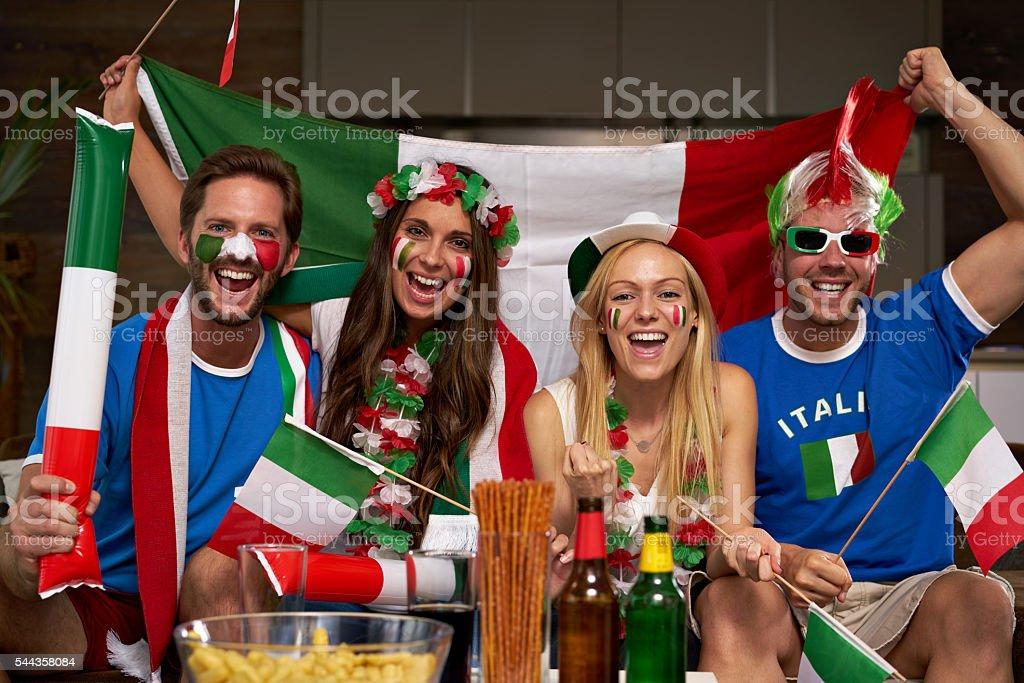 very happy Italian fans stock photo