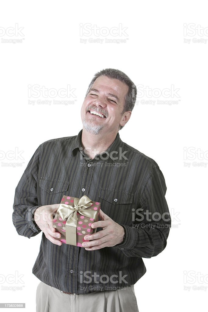 Very Happy Man with Gift royalty-free stock photo