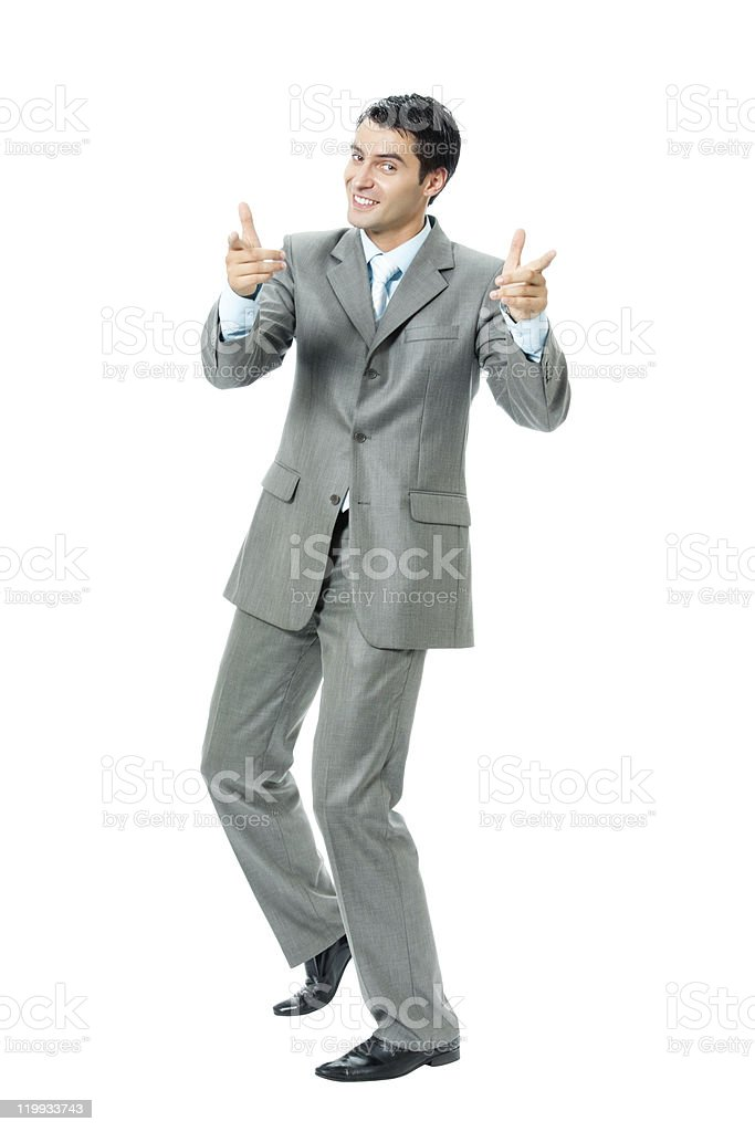 Very happy successful gesturing businessman, isolated royalty-free stock photo