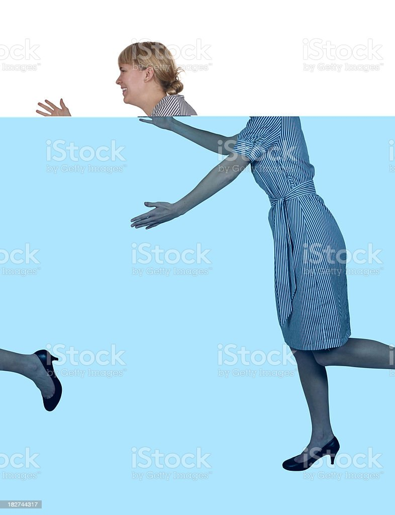 Very happy young businesswoman rushing to give a hug stock photo