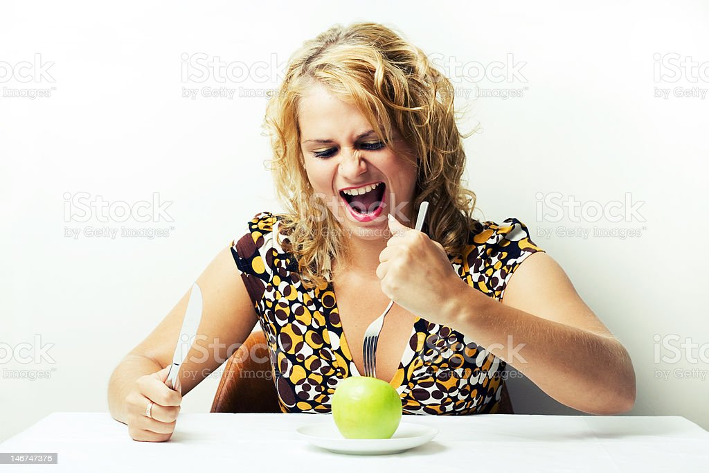 Very hungry girl. royalty-free stock photo