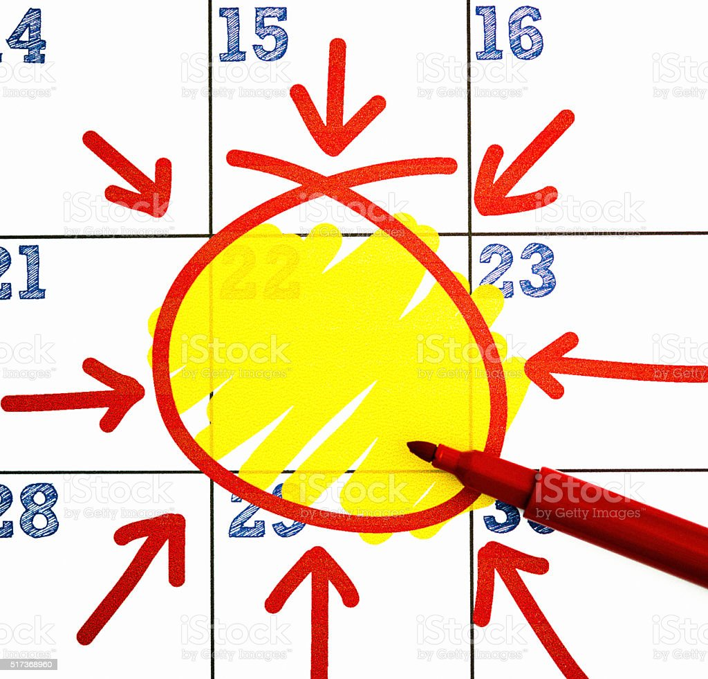 Very important date. Calendar with one day highlighted and circled stock photo