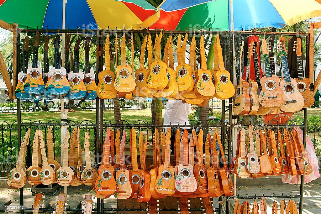A very large amount and different types of ukuleles  stock photo