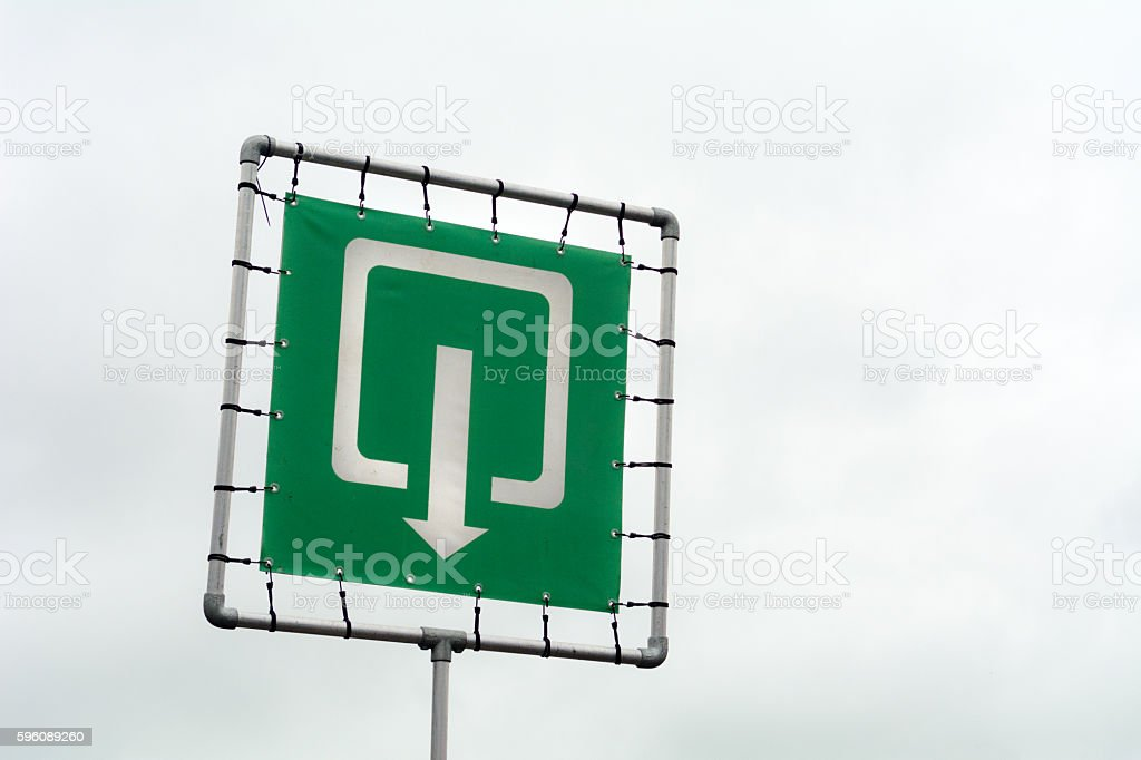 Very large exit sign for large event stock photo