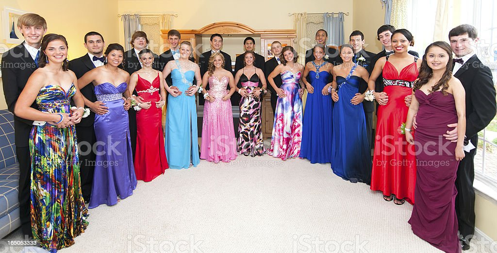 Very Large Group Portrait Taken Before Senior Prom stock photo