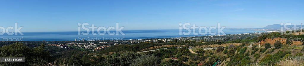very large panorama of the costa del sol with gibraltar stock photo
