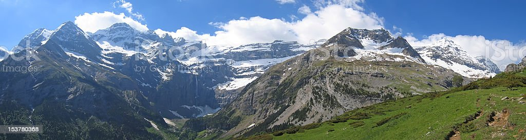 Very large panoramic view of the gavarnie circus mountains with stock photo