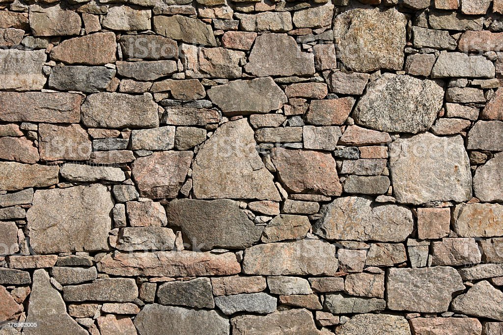 A very meticulously placed stone wall  stock photo