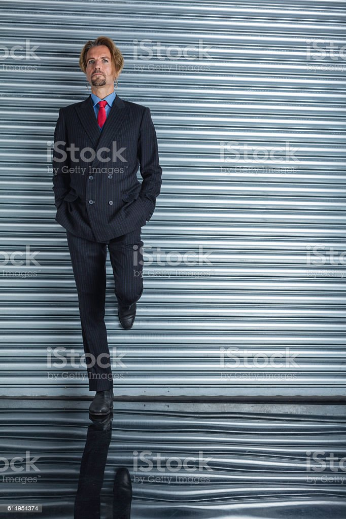 Very Modern Executive Wearing A Pinstripe Suit stock photo