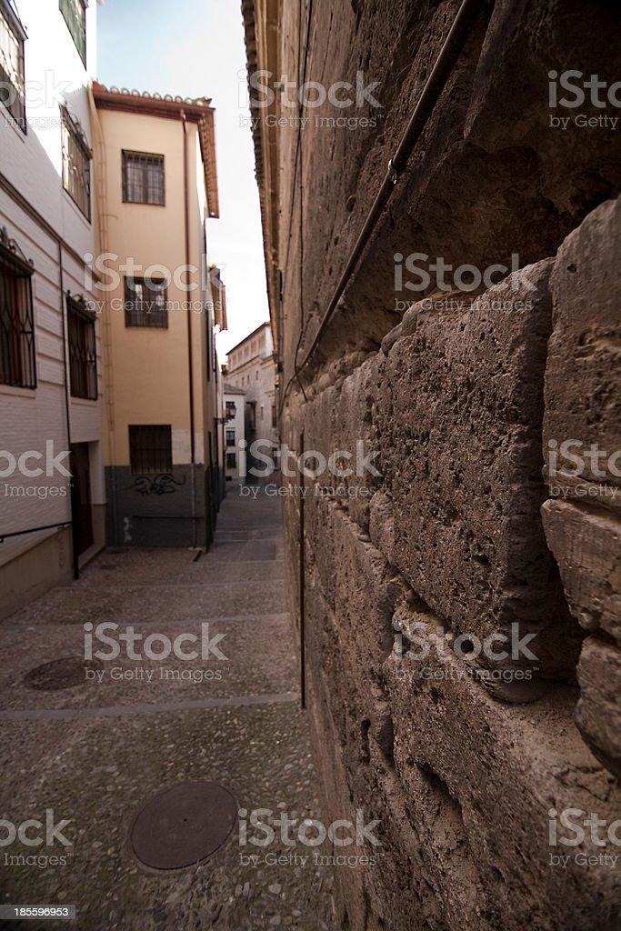 Very narrow passage, Granada, Spain stock photo