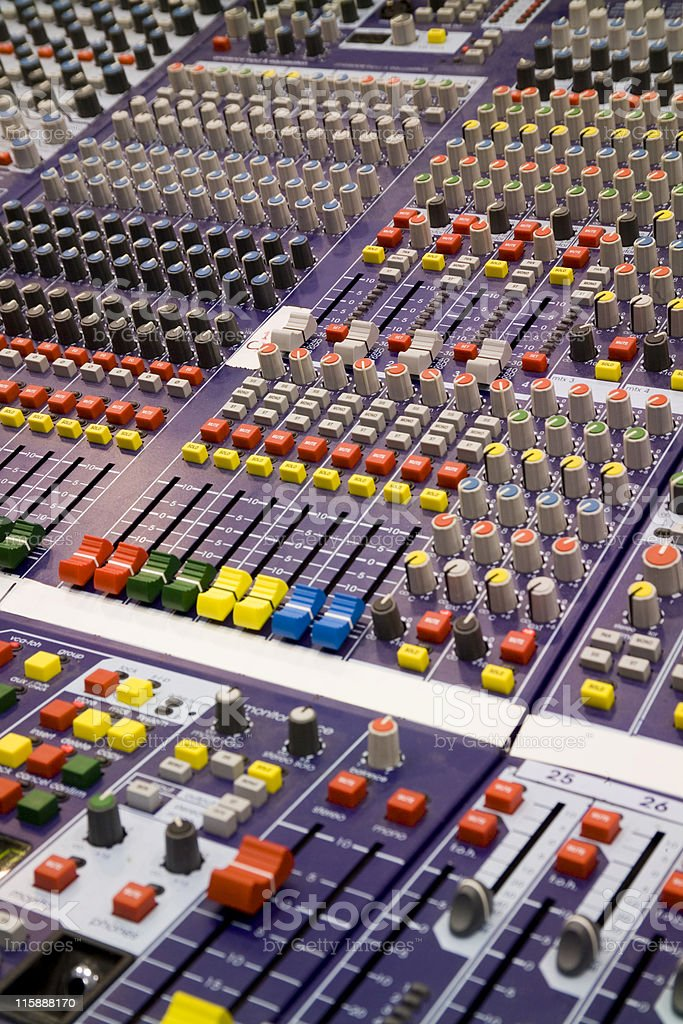 Very new front of house soundboard, angled view stock photo